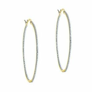 Genevive 14k gold over silver CZ earrings hoops